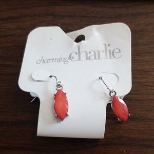 NWT Charming Charlie coral dangling earrings